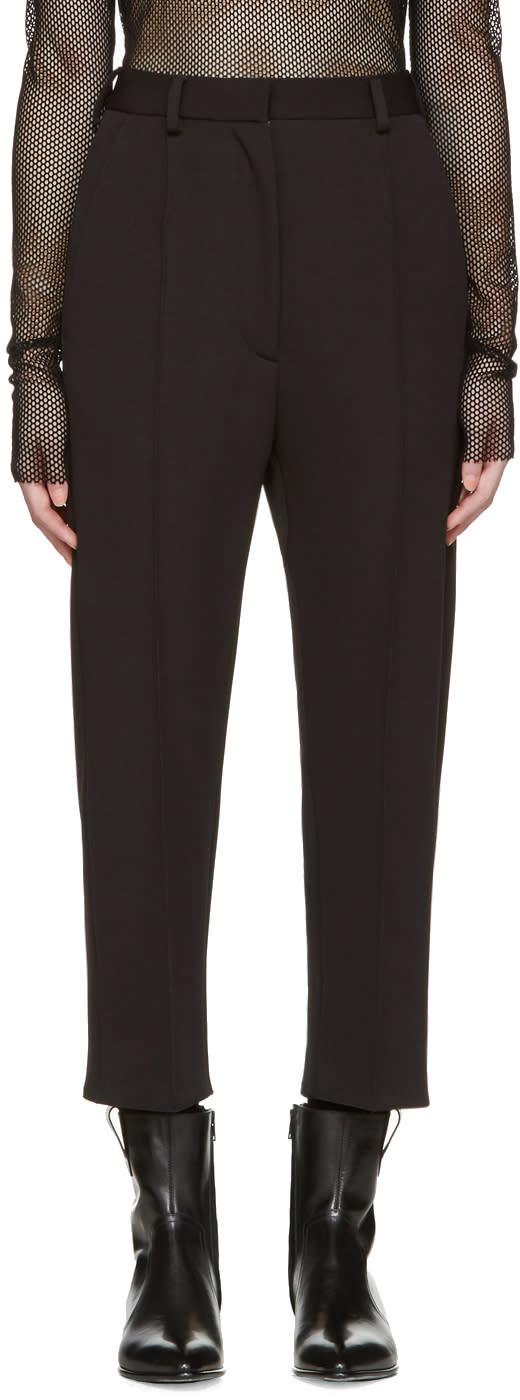 Mm6 Maison Margiela Black Twill Jersey Tuxedo Trousers