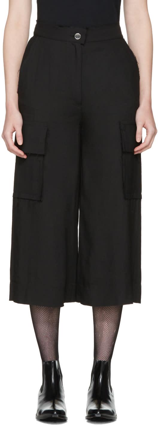 Mm6 Maison Margiela Black Cropped Cargo Trousers