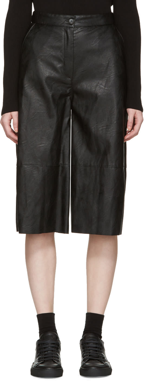 Mm6 Maison Margiela Black Faux-leather Culottes