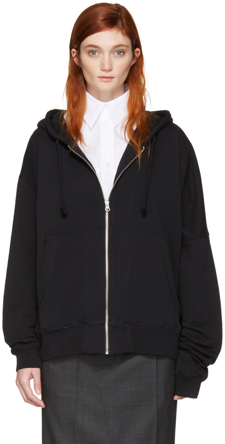 Image of Mm6 Maison Margiela Black Asymmetric Zip Hoodie