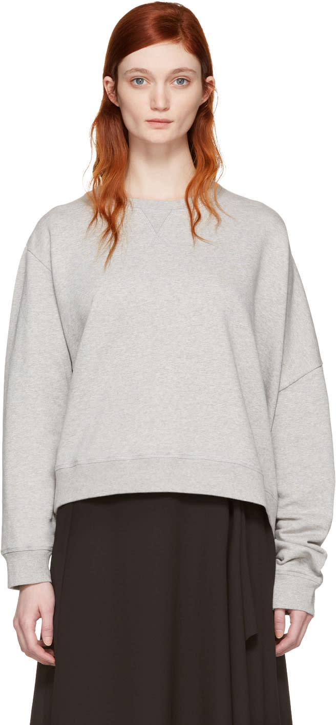 Mm6 Maison Margiela Grey Basic Asymmetic Pullover