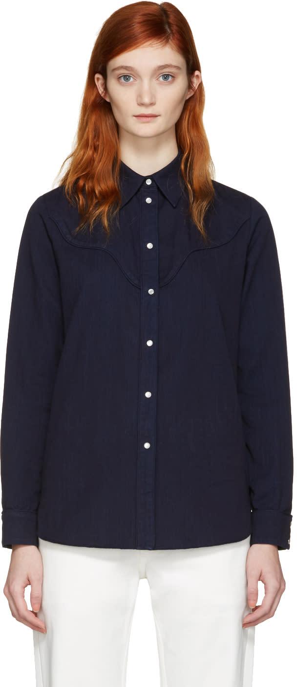 Mm6 Maison Margiela Blue Denim Shirt