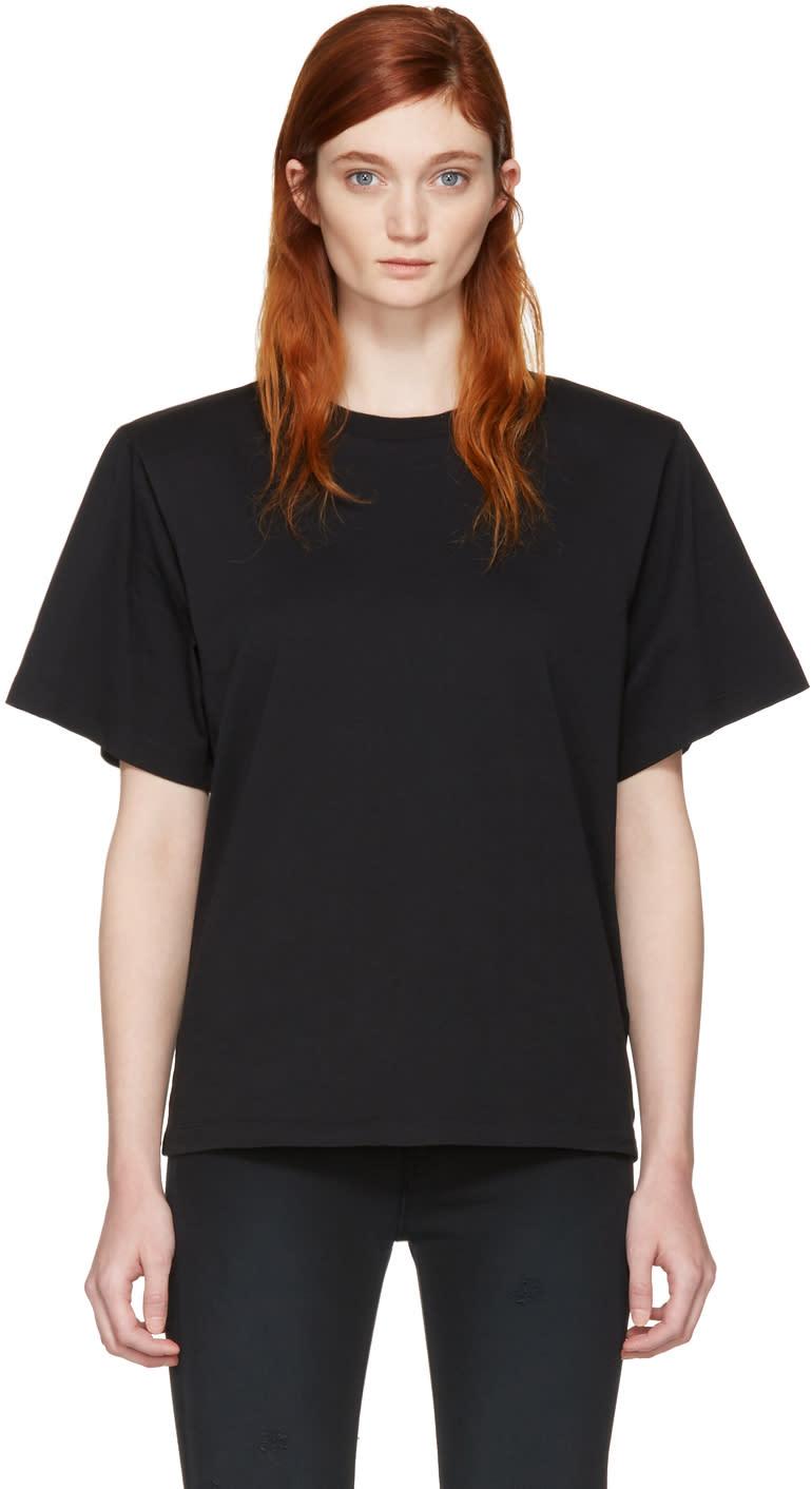 Mm6 Maison Margiela Black Shoulder Pad T-shirt