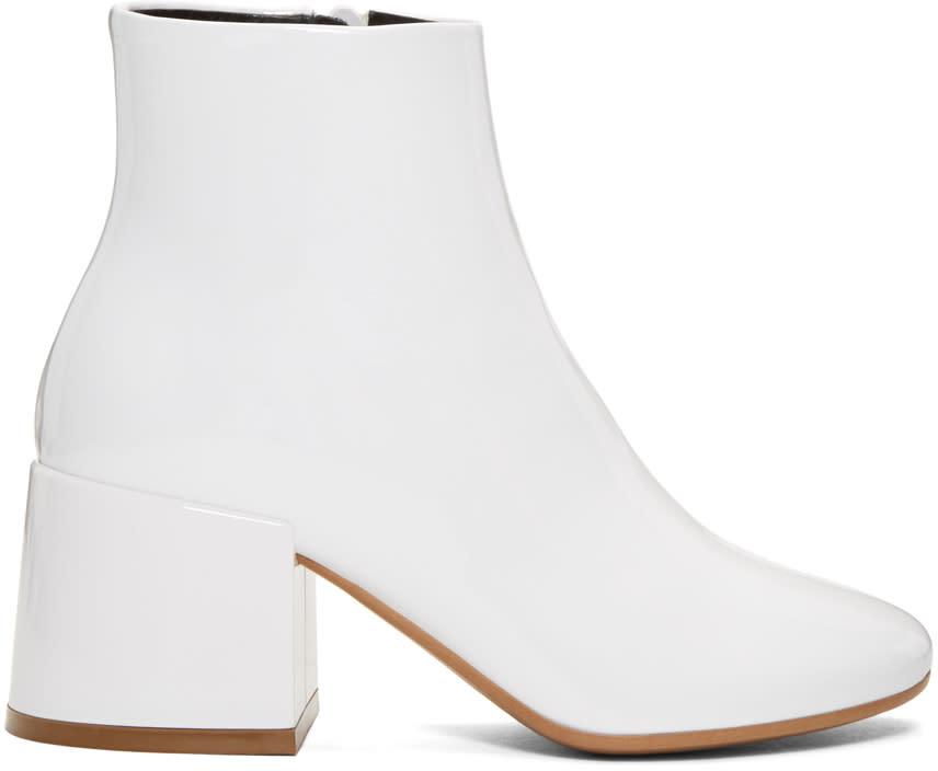 Mm6 Maison Margiela White Patent Cube Heel Boots