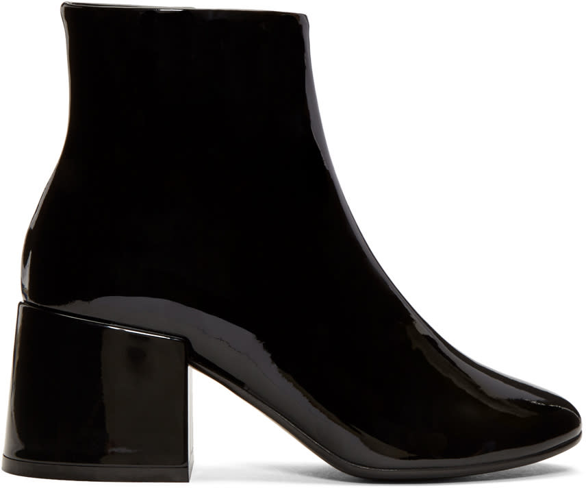 Mm6 Maison Margiela Black Patent Cube Heel Boots