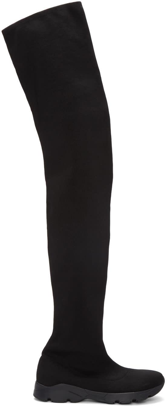 Mm6 Maison Margiela Black Sock Over-the-knee Boots