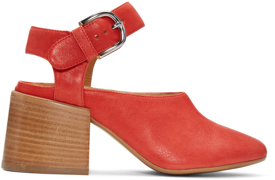 Mm6 Maison Margiela Red Suede Cube Mary Jane Heels