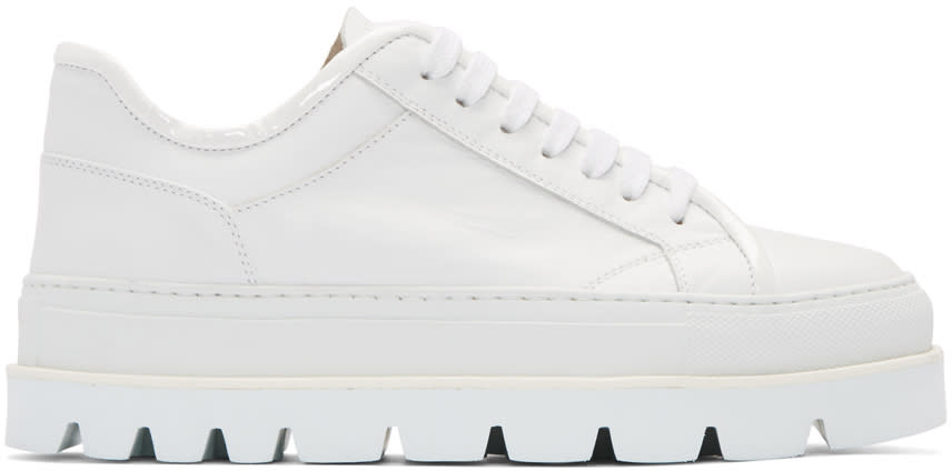 Mm6 Maison Margiela White Leather Flatform Sneakers