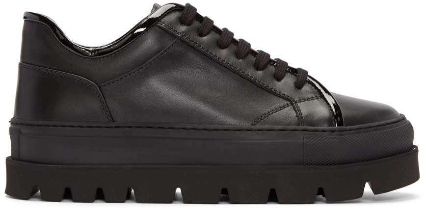 Mm6 Maison Margiela Black Leather Flatform Sneakers