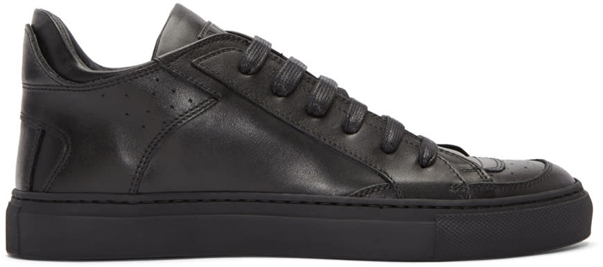 Mm6 Maison Margiela Black Leather Sneakers