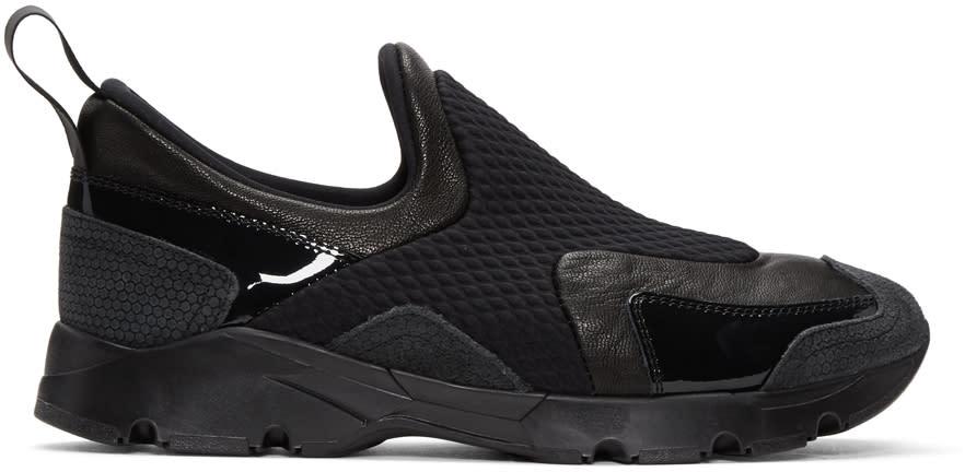 Mm6 Maison Margiela Black Panelled Slip-on Sneakers