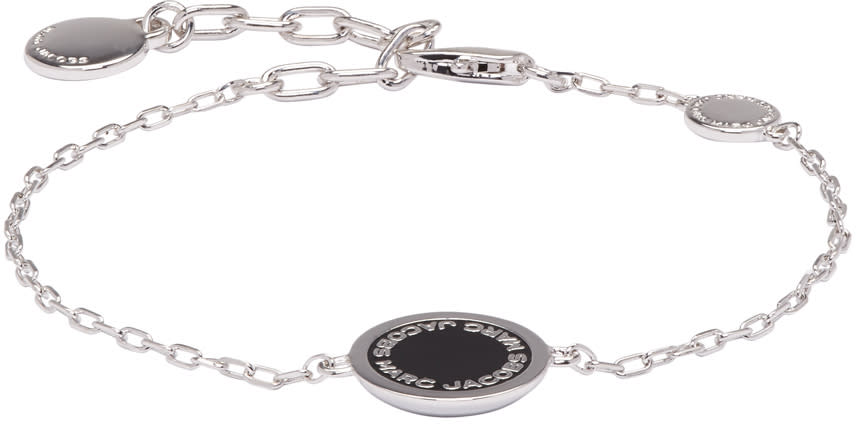Marc Jacobs Silver Enamel Logo Disc Bracelet