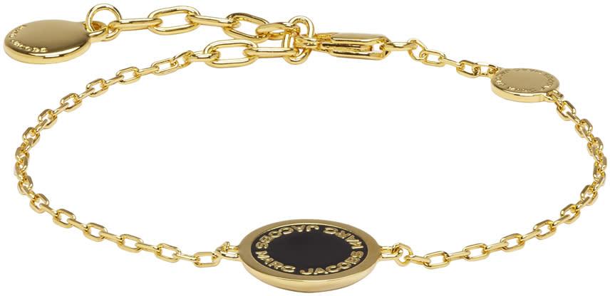 marc jacobs female marc jacobs gold enamel logo disc bracelet