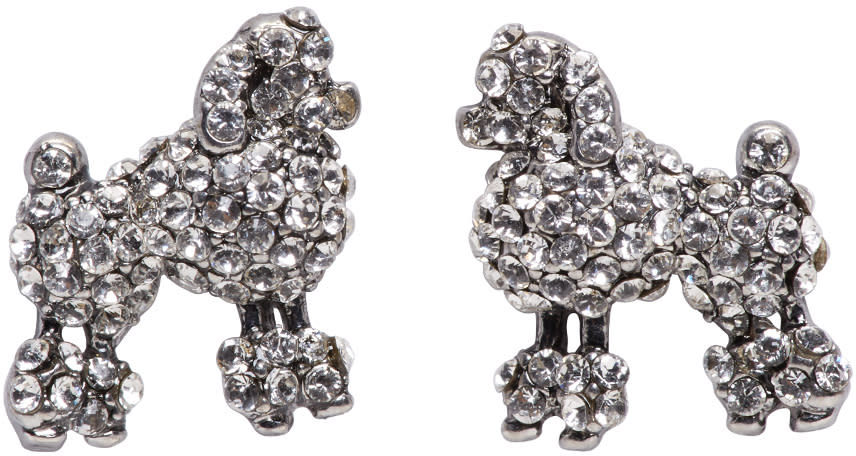 marc jacobs female marc jacobs silver small poodle earrings