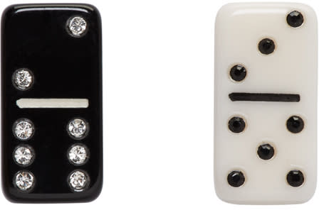 marc jacobs female marc jacobs black and white mini domino earrings