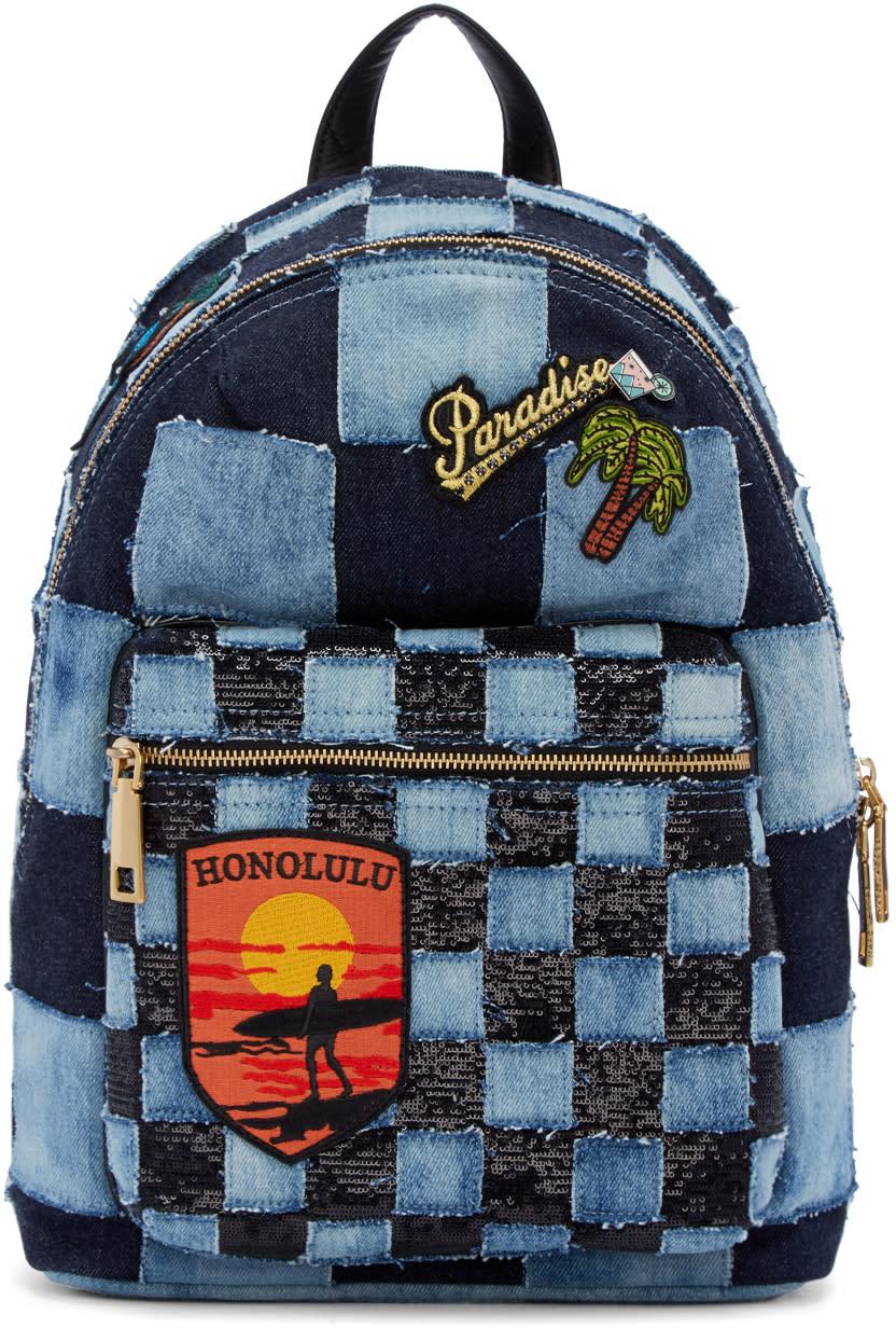 marc jacobs female marc jacobs blue denim patchwork backpack