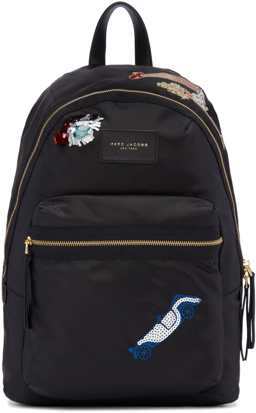 marc jacobs female marc jacobs black nylon collage biker backpack