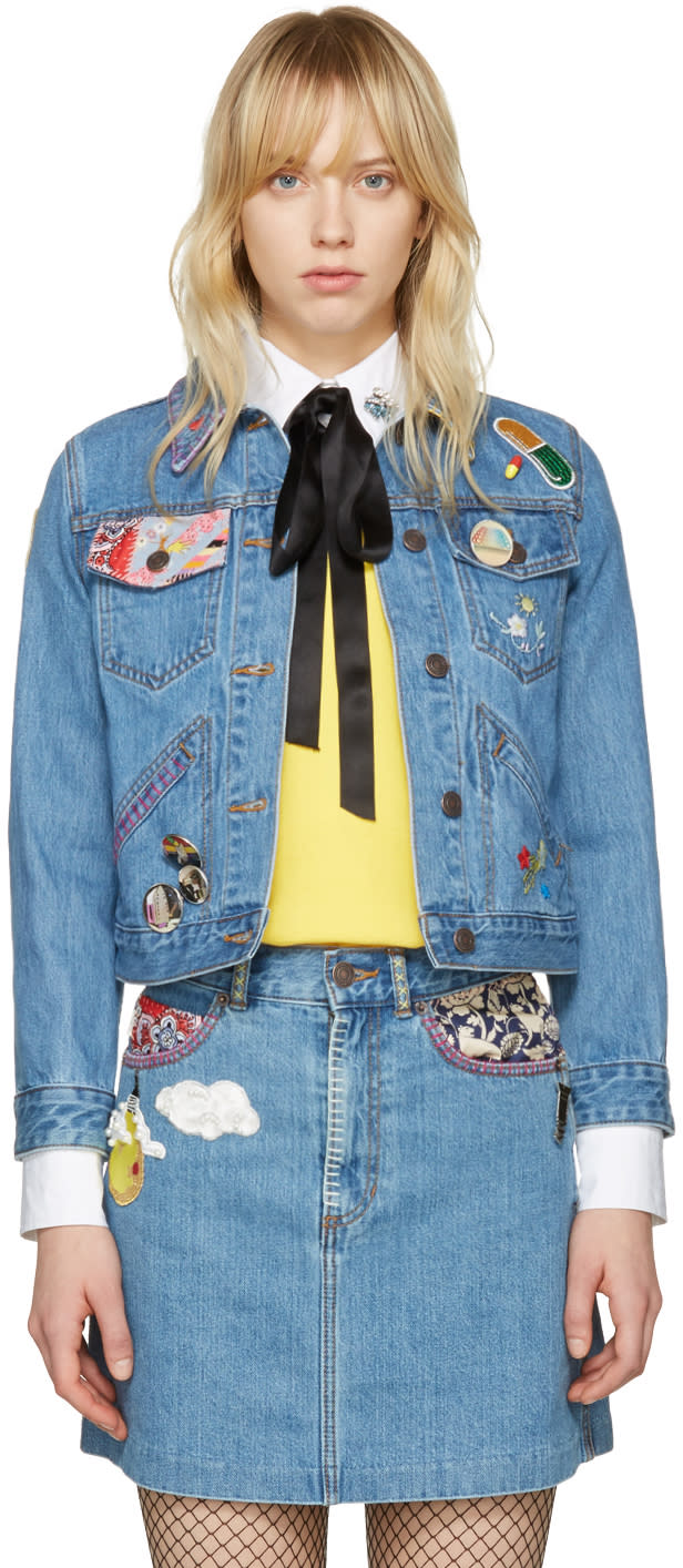 Marc Jacobs Indigo Denim Shrunken Embroidered Jacket