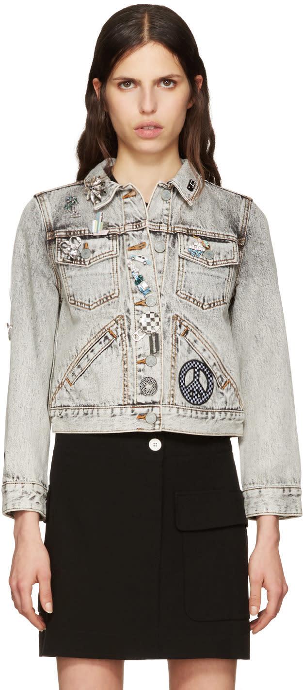 marc jacobs female marc jacobs ecru denim embroidered shrunken jacket