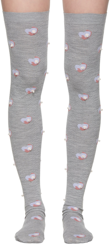 Marc Jacobs Grey Pearl Thigh-high Socks