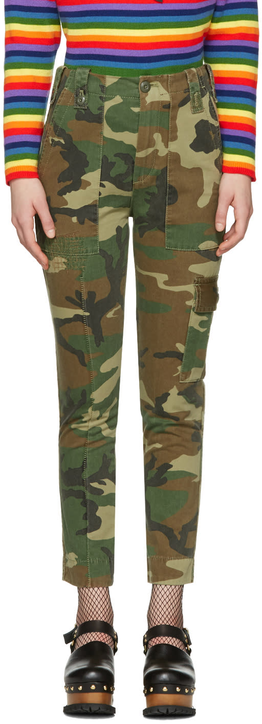 marc jacobs female marc jacobs green camo cargo trousers