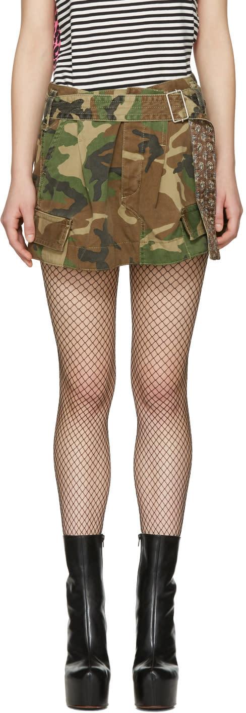 Marc Jacobs Green Camo Cargo Miniskirt