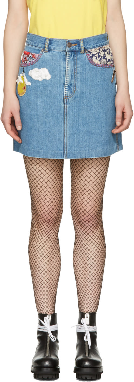 marc jacobs female marc jacobs indigo denim embroidered miniskirt