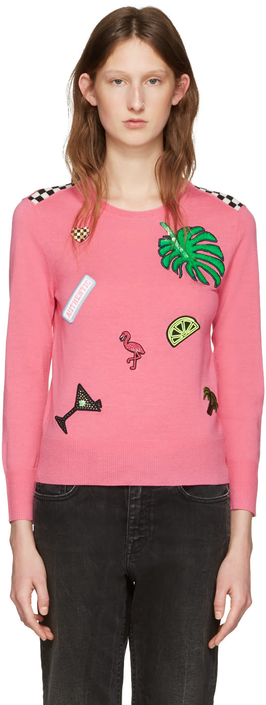 marc jacobs female marc jacobs pink embroidered wool pullover