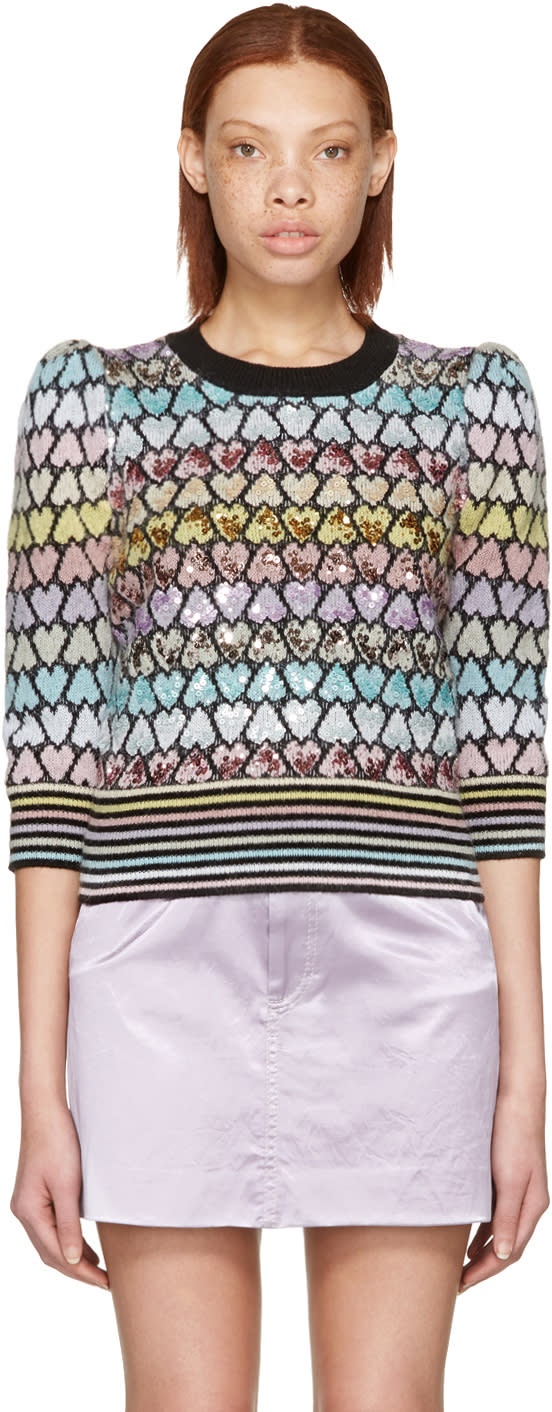 Marc Jacobs Multicolor Cropped Mohair Heart Sweater