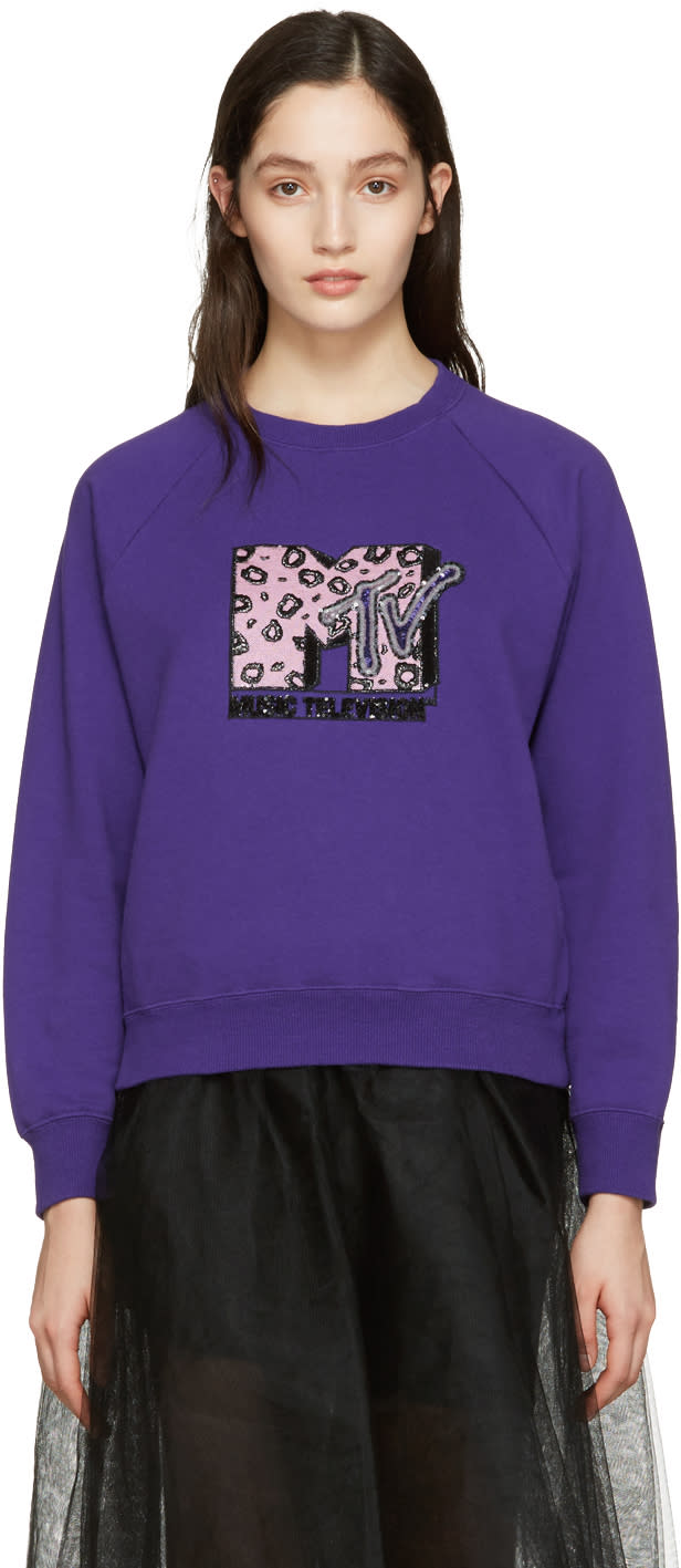 marc jacobs female marc jacobs purple embroidered mtv pullover
