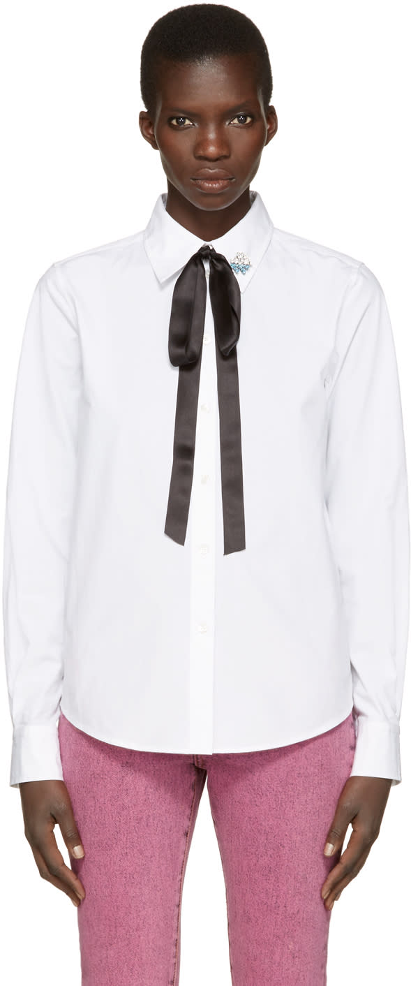 marc jacobs female marc jacobs white tie and pin shirt