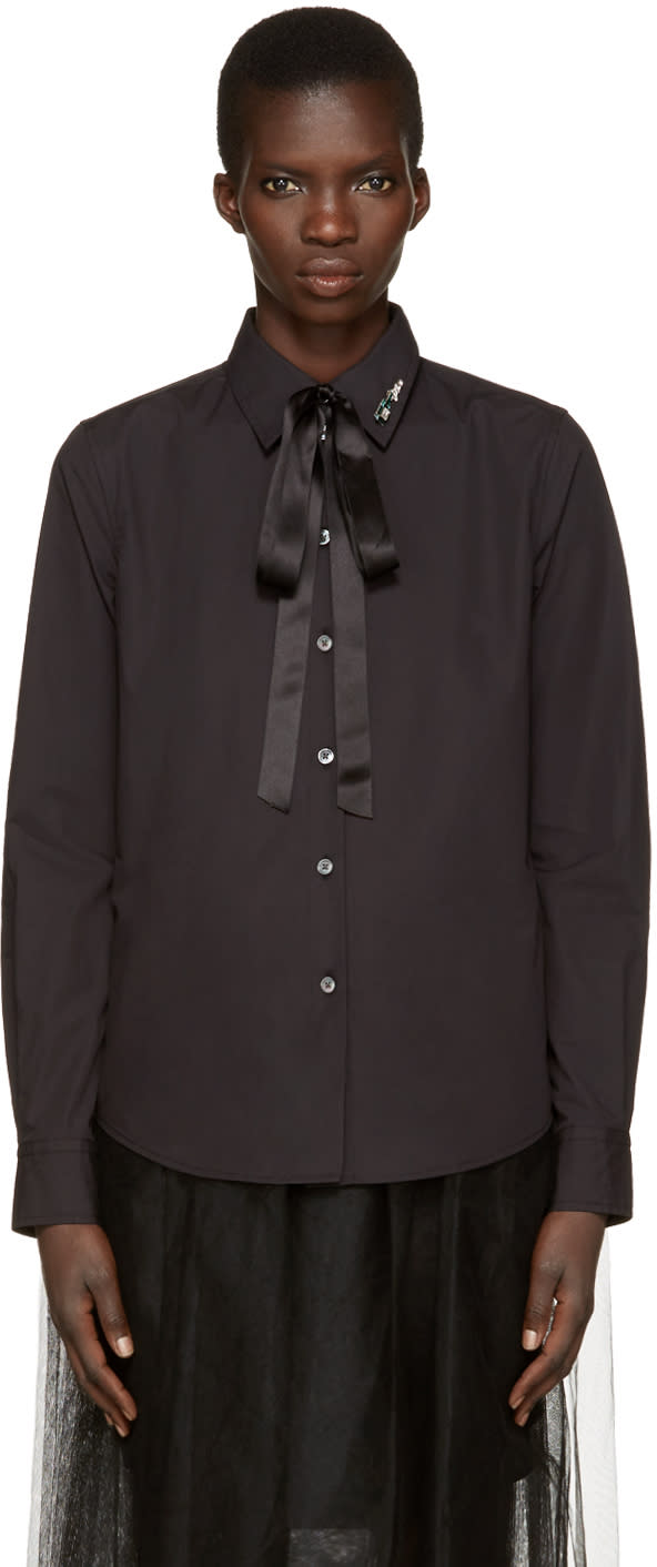 marc jacobs female marc jacobs black tie and pin shirt