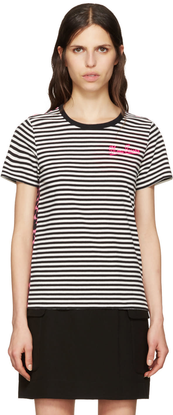 marc jacobs female marc jacobs black printed patchwork tshirt