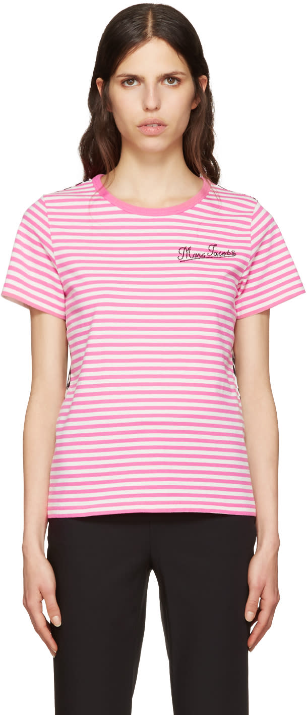 marc jacobs female marc jacobs pink printed patchwork tshirt