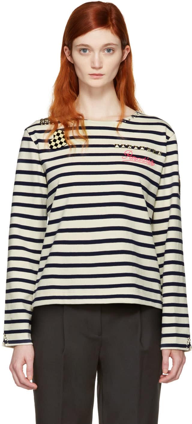 Marc Jacobs Ecru Striped paradise Long Sleeve T-shirt