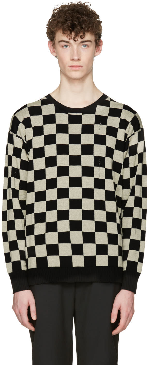 marc jacobs male marc jacobs black check distressed sweater