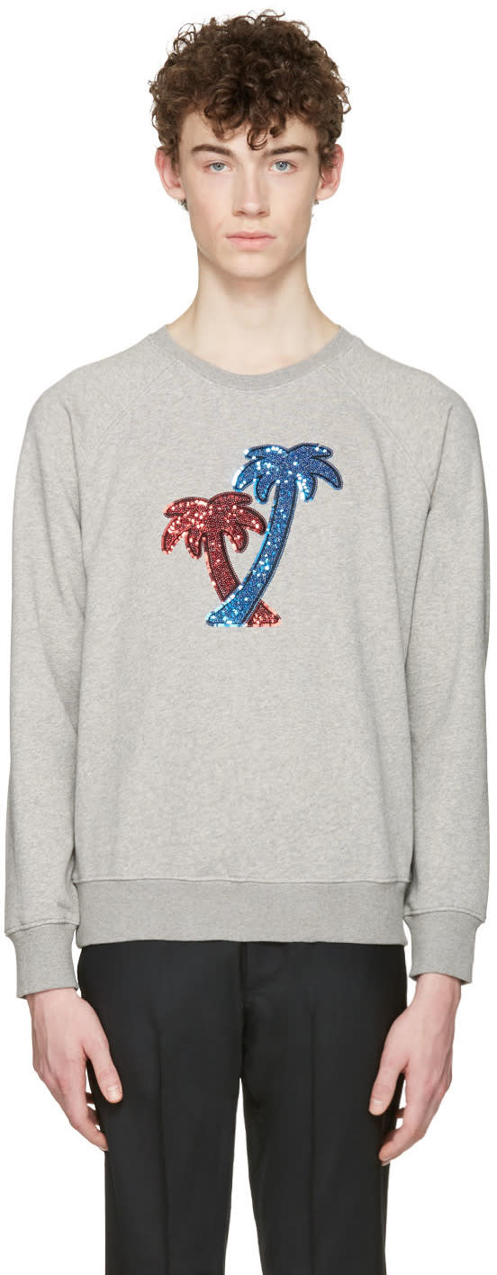 marc jacobs male marc jacobs grey palm trees pullover