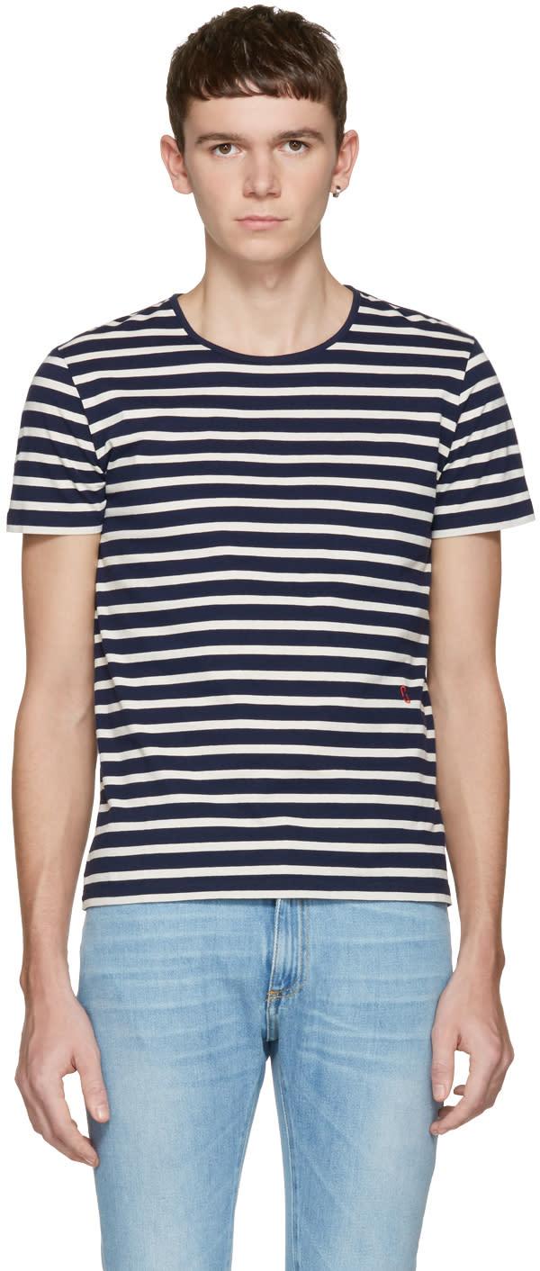 Marc Jacobs ネイビー ストライプ T シャツ