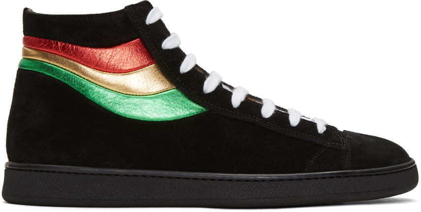 marc jacobs male marc jacobs black stripes hightop sneakers