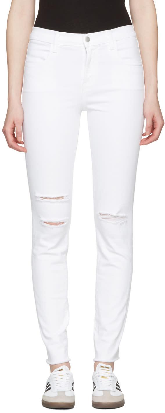 J Brand White Maria High-rise Skinny Jeans