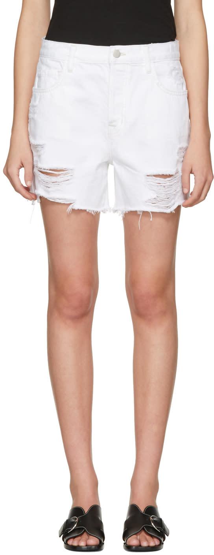 J Brand White Denim Ivy Shorts