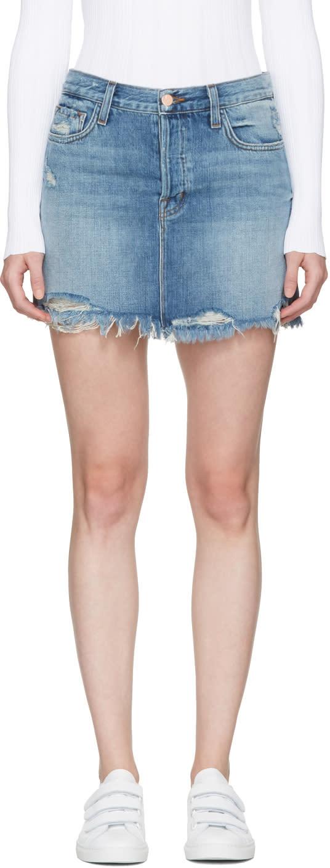 Image of J Brand Blue Denim Bonny Miniskirt