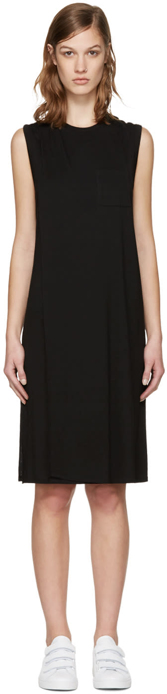 T By Alexander Wang Black Overlap Dress