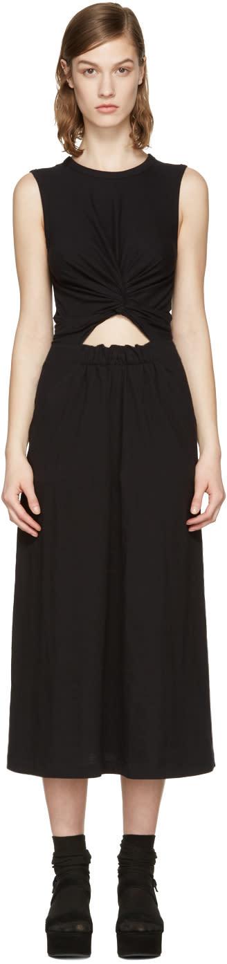 T By Alexander Wang Black Front Twist Dress