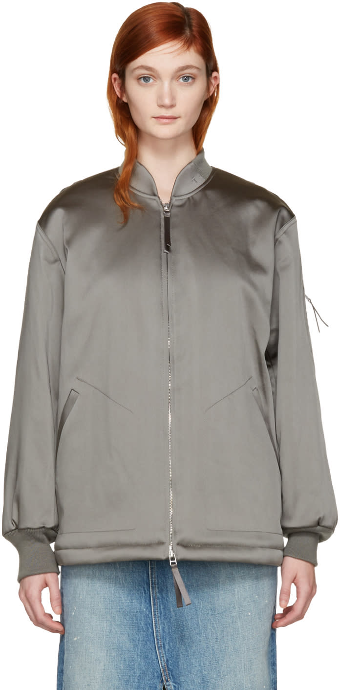 T By Alexander Wang Grey Nylon Bomber Jacket