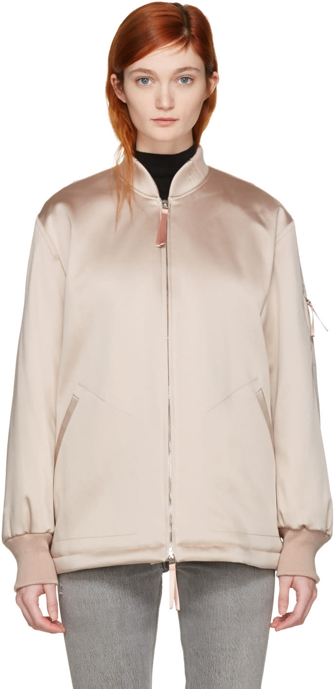 T By Alexander Wang Pink Nylon Bomber Jacket