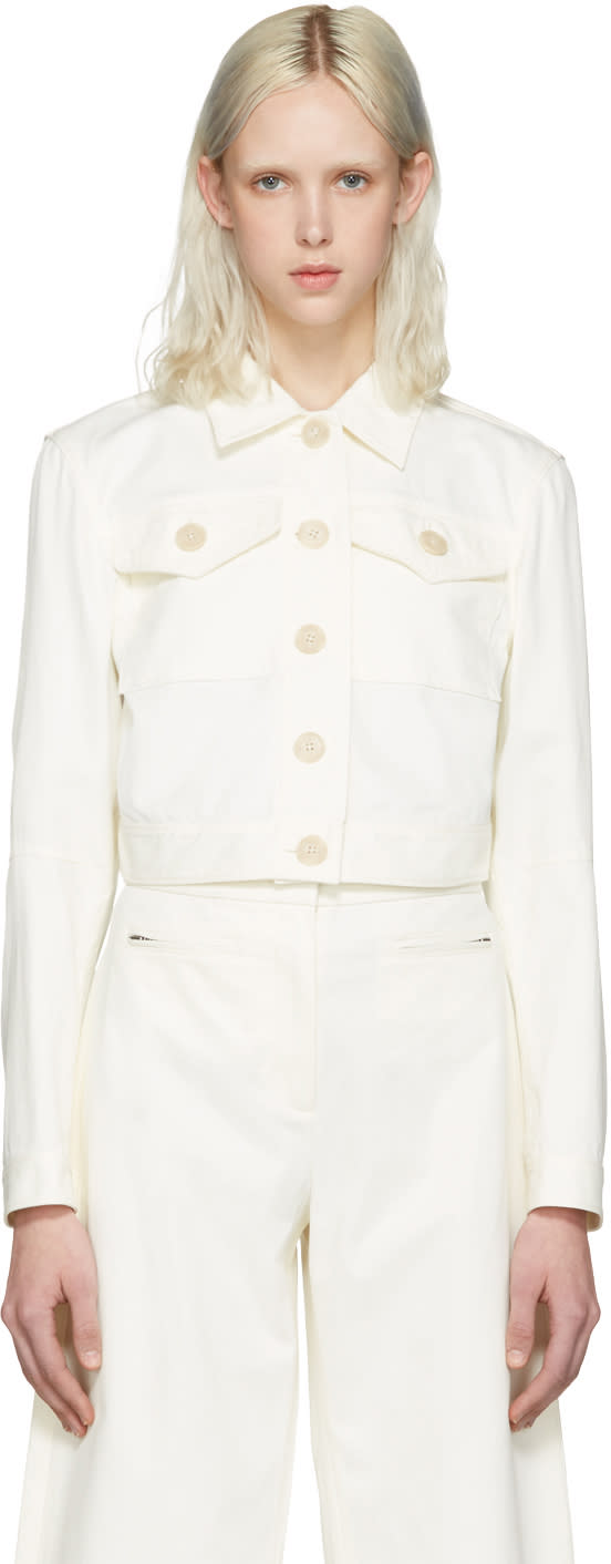 T By Alexander Wang White Cropped Jacket