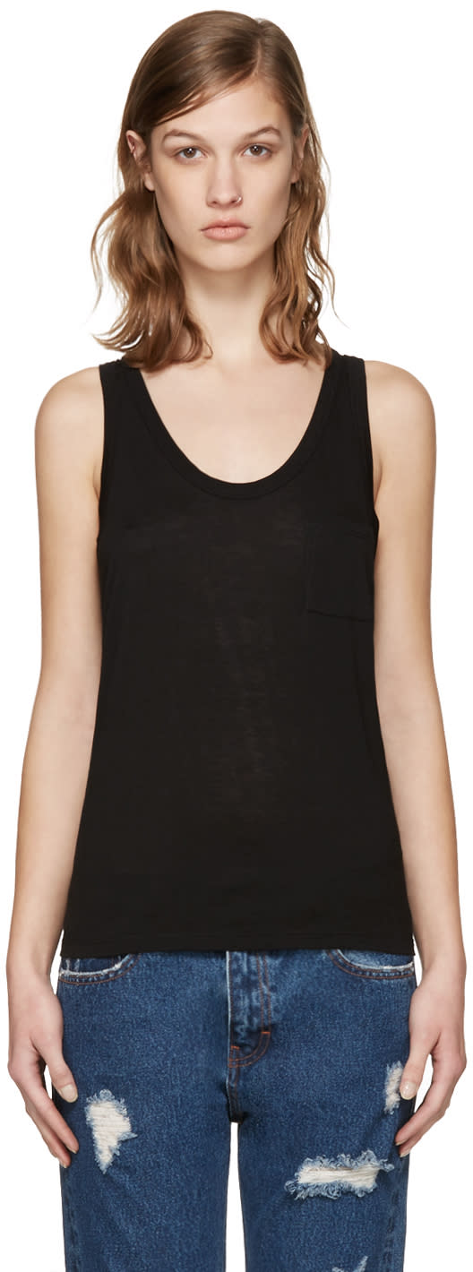 T By Alexander Wang Black Classic Jersey Tank Top