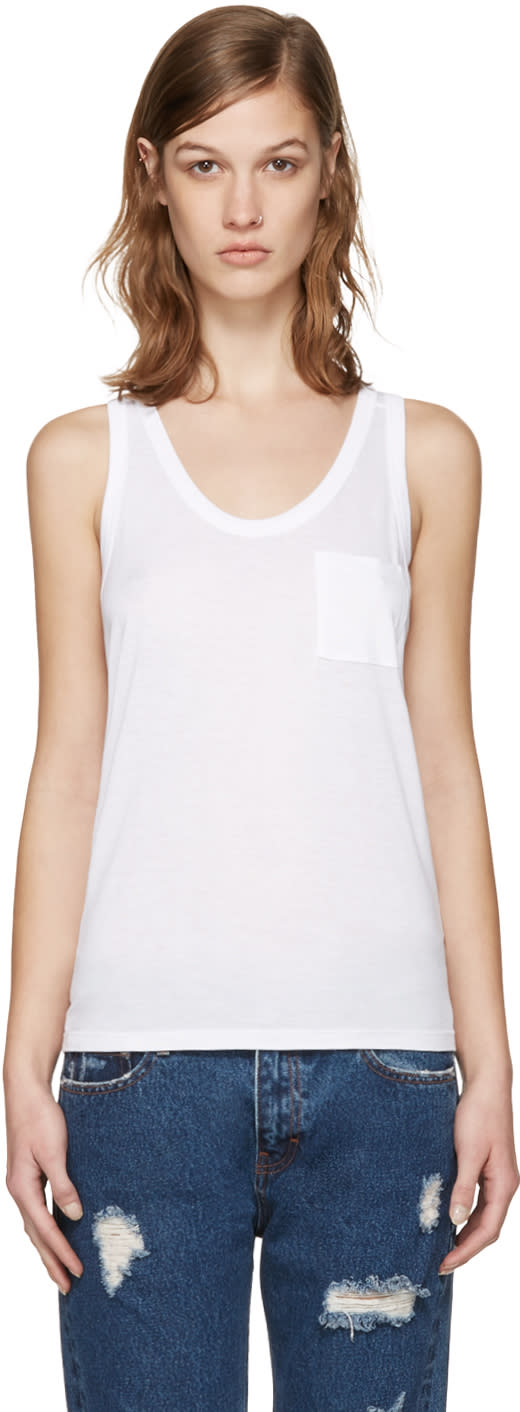 T By Alexander Wang White Classic Jersey Tank Top