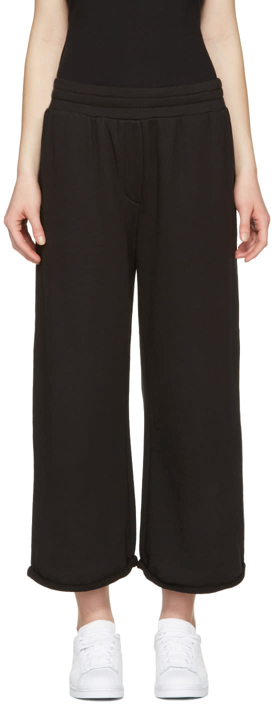 T By Alexander Wang Black Cropped Wide Lounge Pants